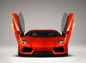 Lamborghini Aventador LP700 front view with doors opened